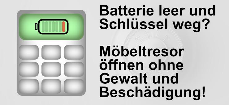 Beim Möbeltresor ist die Batterie leer und kein Schlüssel vorhanden. Um den Tresor öffnen zu lassen, nehmen Sie Kontakt zu uns auf!